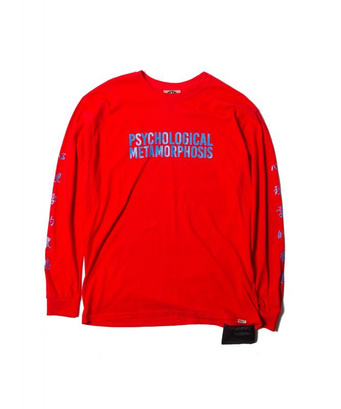 画像1: 【PSYCHOLOGICAL METAMORPHOSIS・PLMP】PLMP L/S LOGO 3 / RED (1)
